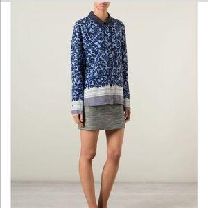 • Tory Burch • Flower Print Silk Button Down Shirt